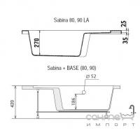 Душевой поддон с сиденьем 80см Ravak Sabina LA A214001020