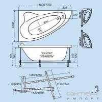 Гидромассажная ванна с врезным смесителем Triton Изабель правая