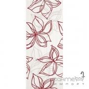 Плитка Ceramika Color Crypton red decor 25x60 (цветы)