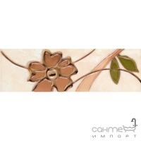 Бордюр Kwadro Ceramika Amarylis Brown (цветы) 25X7,6