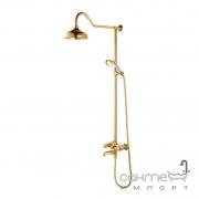 Настенный смеситель для душа Yatin Carving Gold 8065055VF с верхним душем, ручным душем и душевым шлангом золото