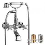 Смеситель для ванны с душевой лейкой Tres Retro-Tres 5.24.170.0 Античная Латунь и Матовая Сталь
