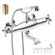 Термостатический смеситель для ванны с душевой лейкой Tres Retro-Tres 024.176.09.LV Античная Латунь