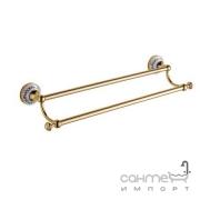 Двойной держатель для полотенец Devit Charlestone Ceramic 3048142G золото